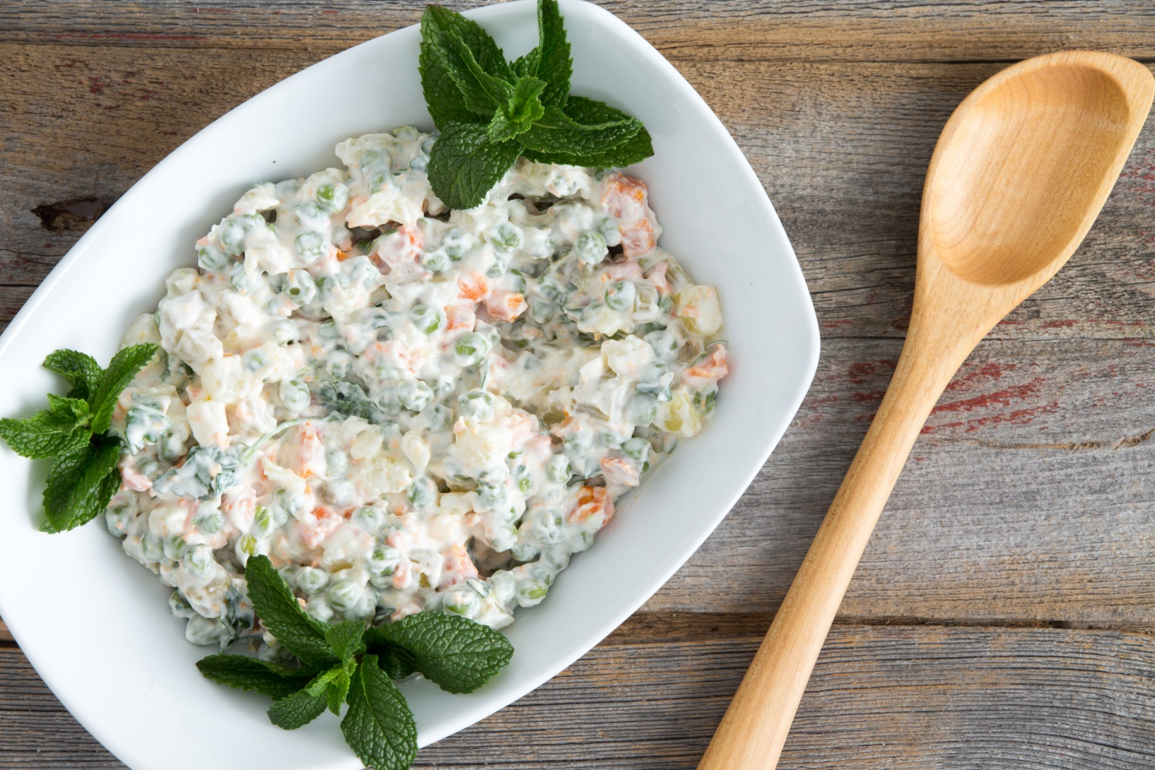 Olivier Salad on old picnic table
