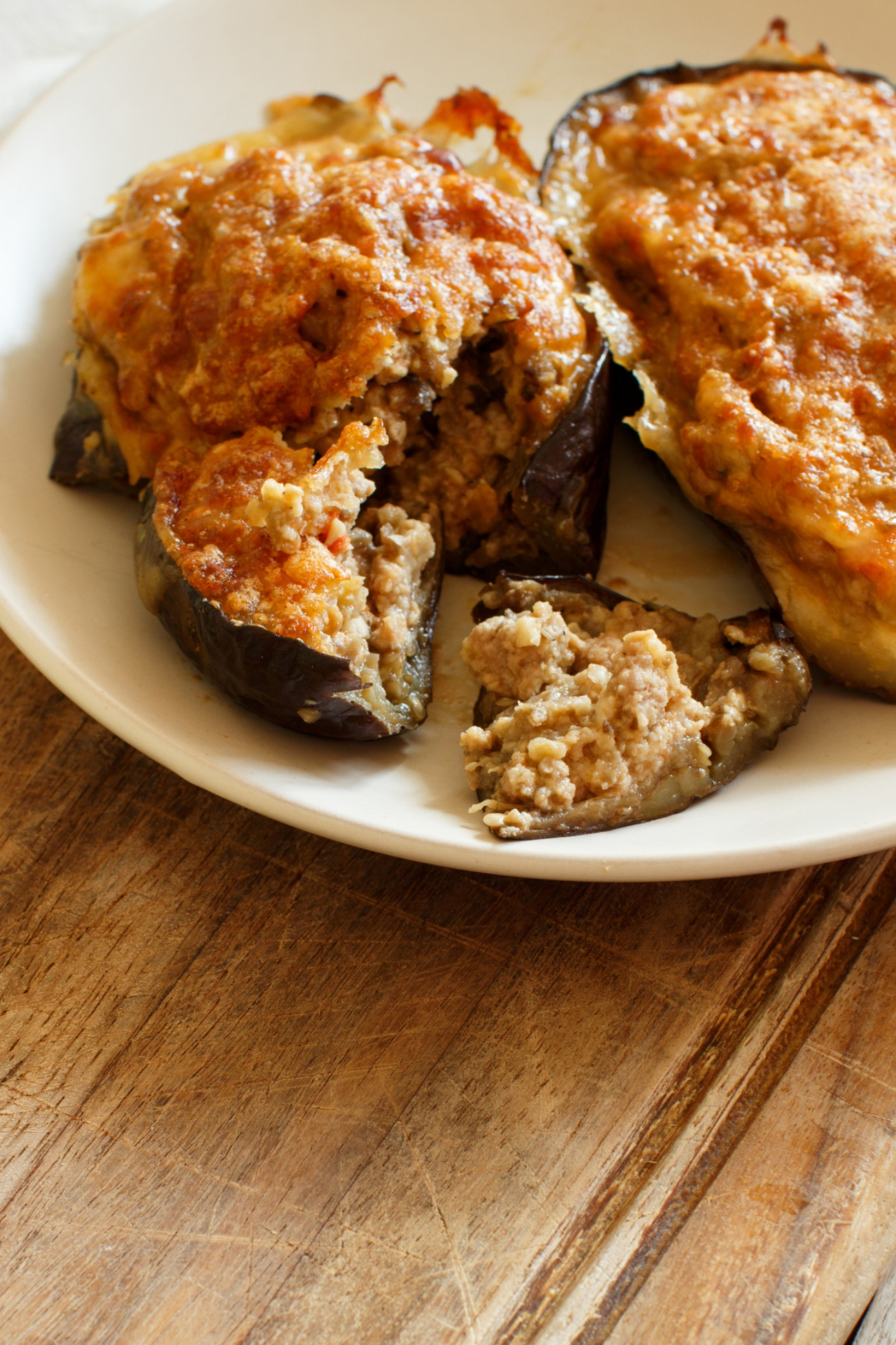 Stuffed eggplant with cheese meat and tomatoes