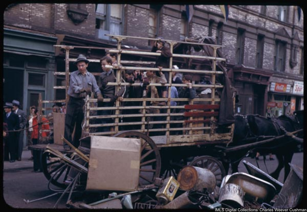 Collecting the salvage on lower East Side.