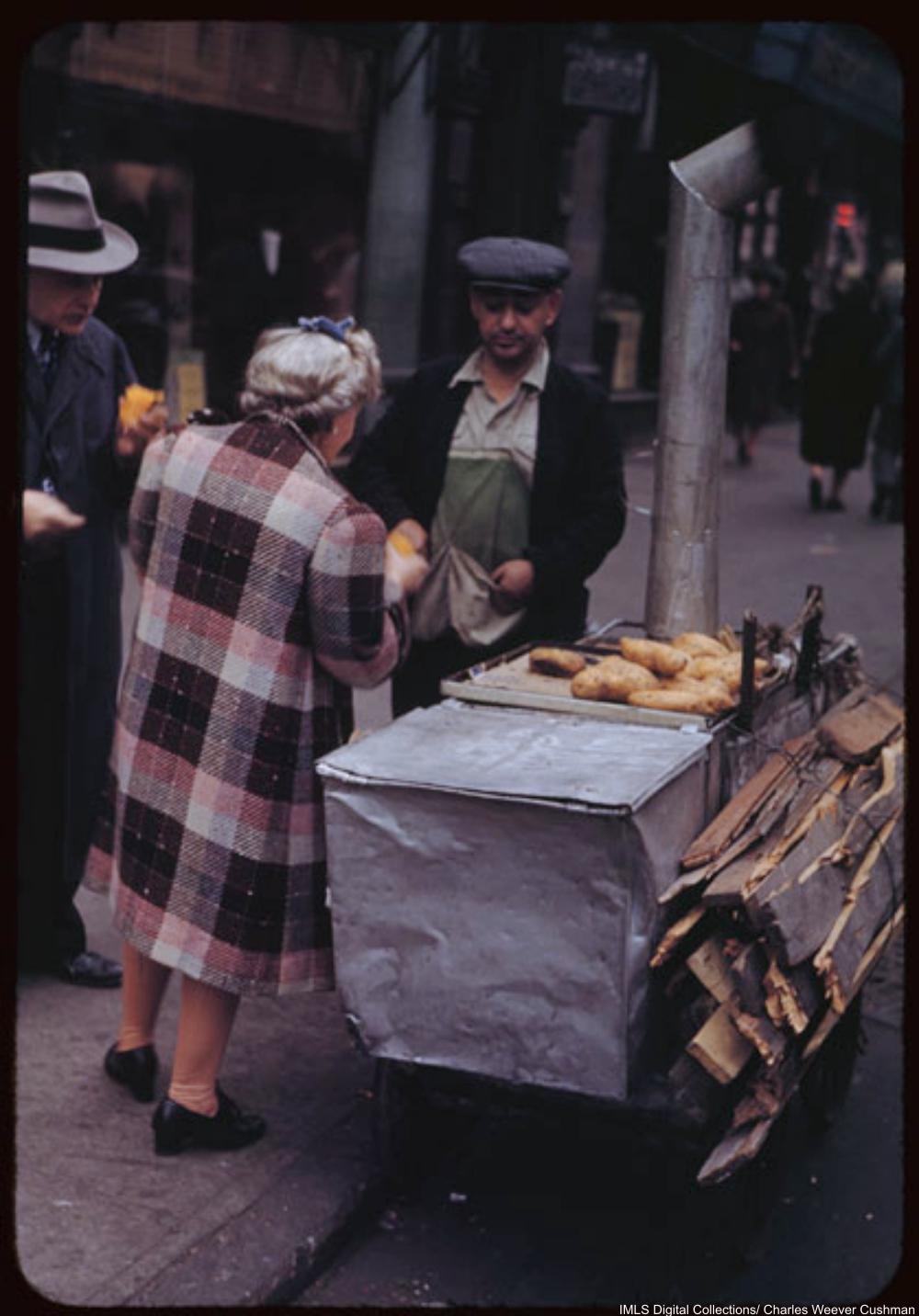 Hot sweet potatoes on Sidewalk store