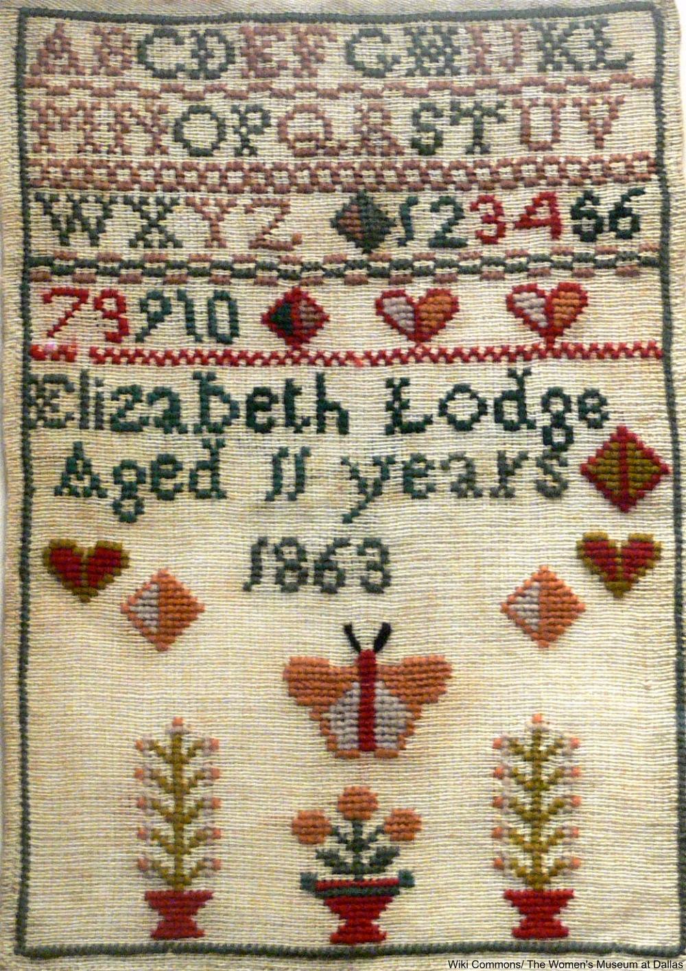 1863 sampler made by 11-year-old Elizabeth Lodge