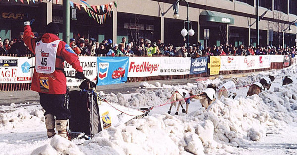 Source: Wikimedia Commons A musher begins the race.