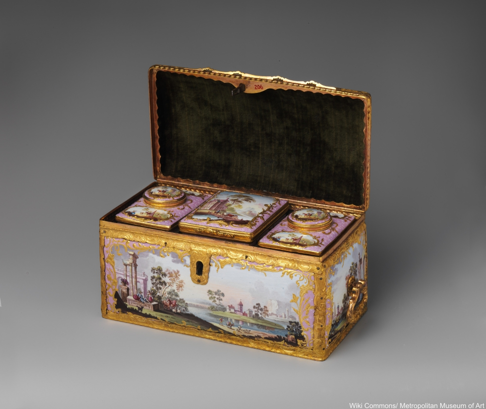 18th century enamel tea caddy