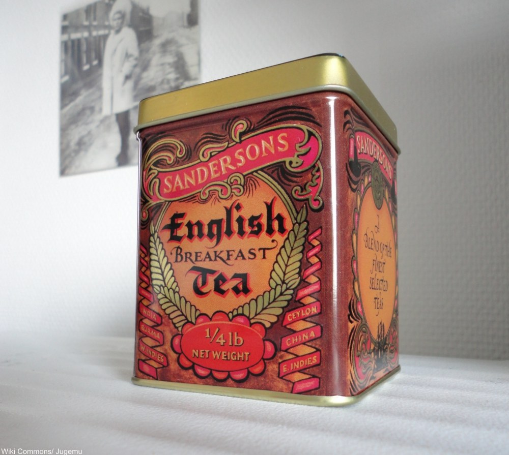 20th century enamel tea tin