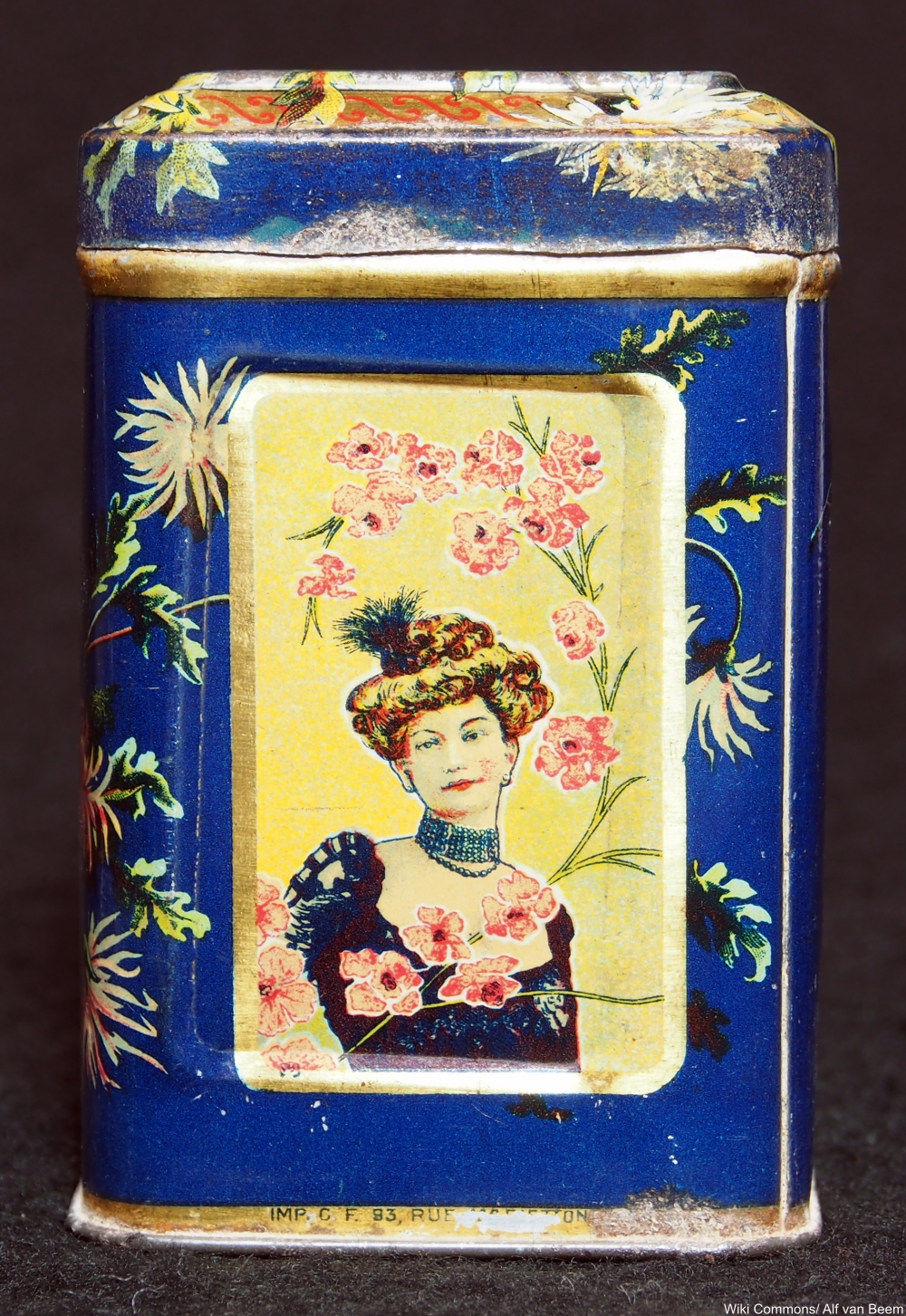 20th century tea tin featuring an Edwardian lady
