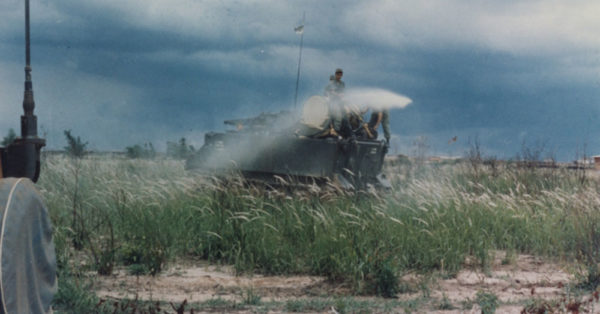 Source: Wikimedia Commons U.S. Army armored personnel carrier (APC) spraying Agent Orange during the Vietnam War.
