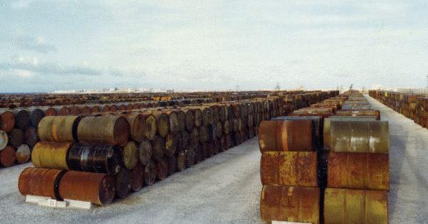 Source: Wikimedia Commons Agent Orange Barrels at Johnston Atoll circa 1976.