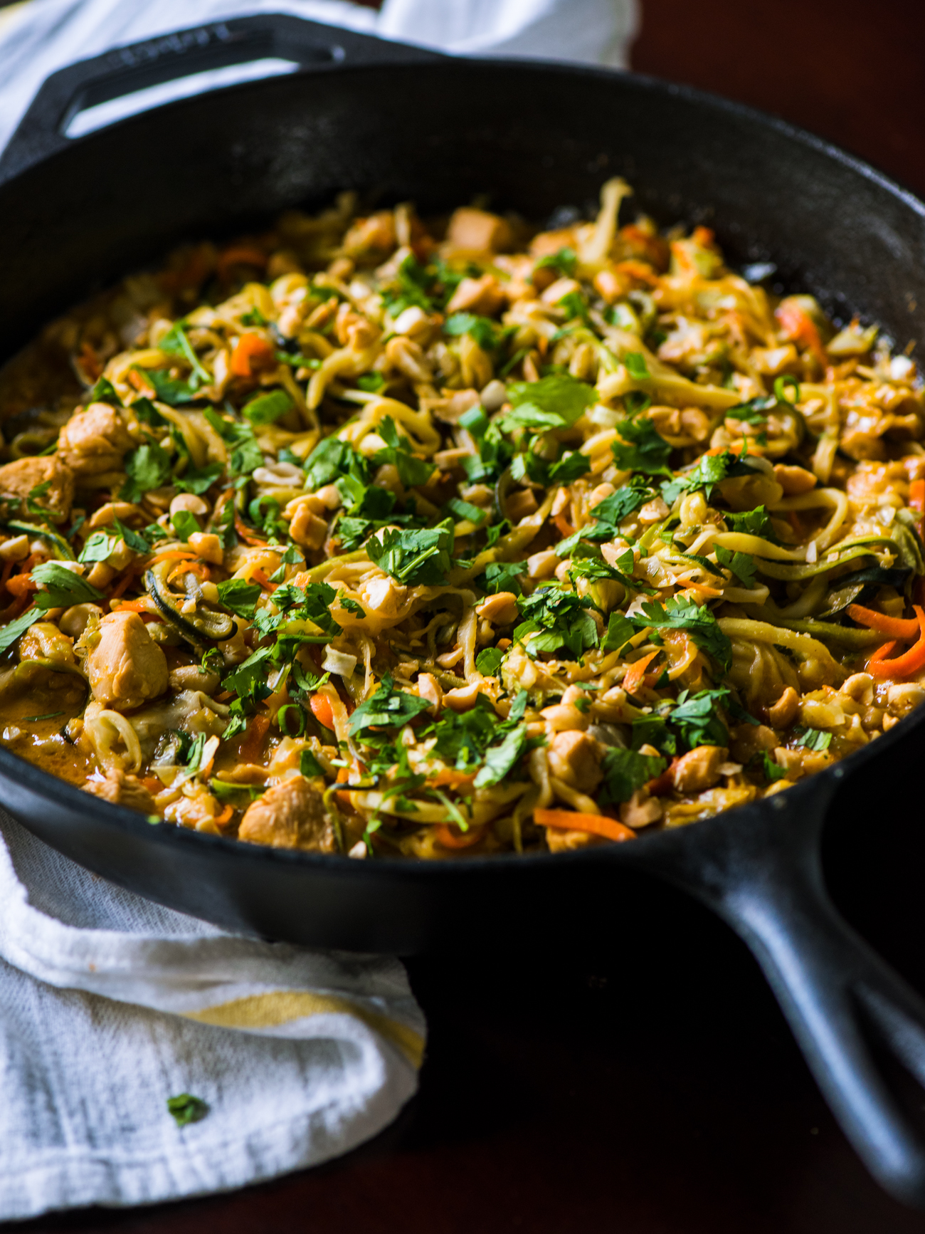 Chicken Zoodle Pad Thai Skillet Vertical 2