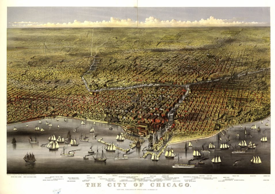 Panoramic etching of Chicago circa 1874.