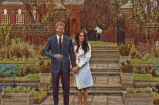 Prince Harry and Meghan Markle at Kensington Gardens, Nov. 27, 2017. | Photo art by GLP.