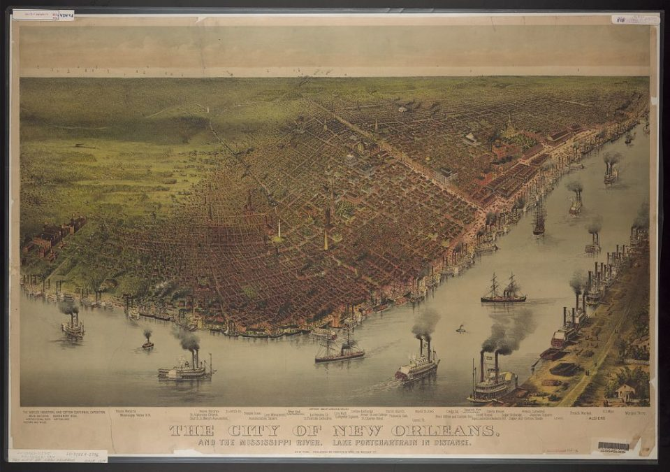 1890 New Orleans with the Mississippi River and Lake Pontchartrain in the distance.