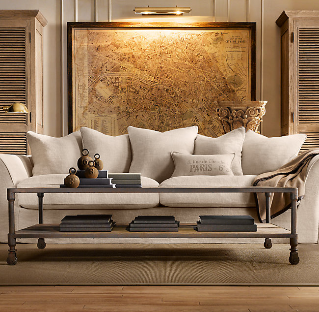 Pictured above, this eight-foot wide vintage Restoration Hardware map of Paris really pulls the room together. RH.com/$3300.