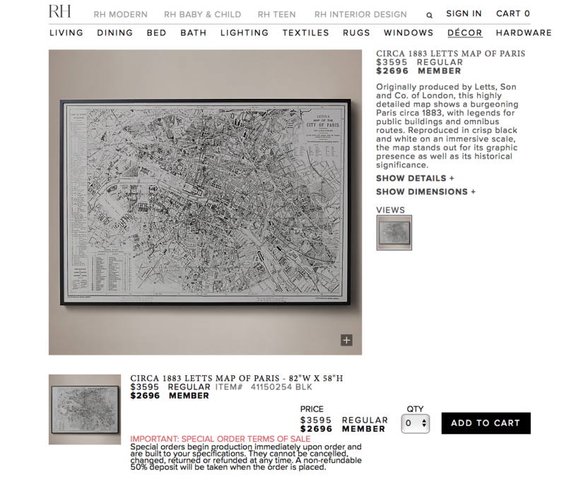 RH's vintage map of Paris really brings a room together -- but at what price?