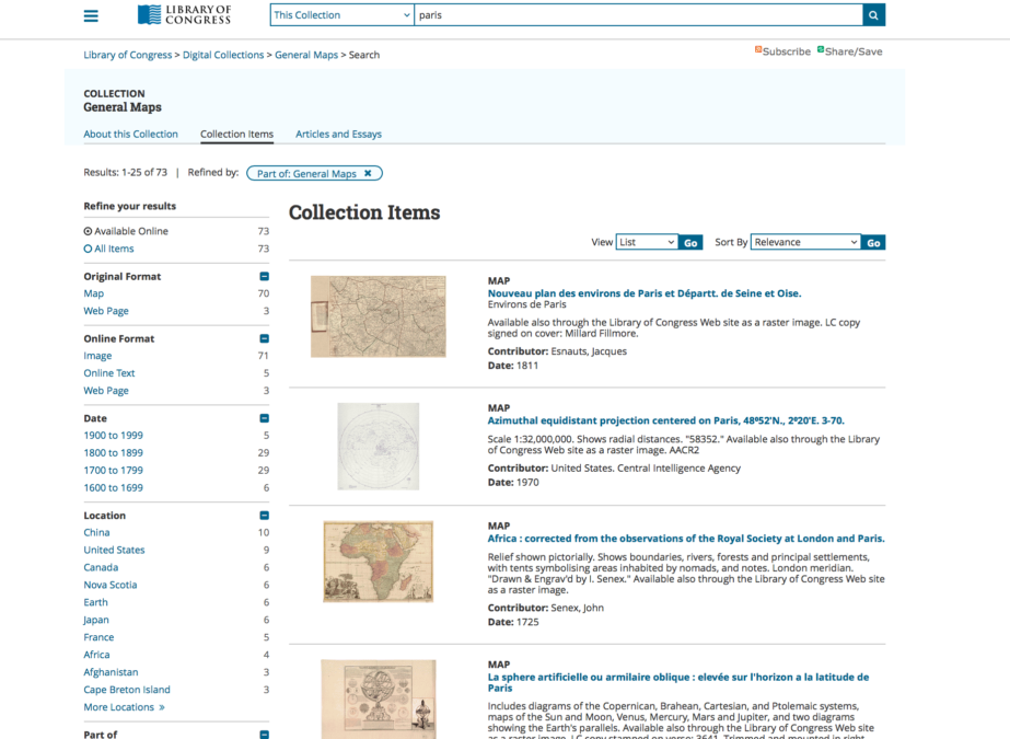 The Library of Congress contains thousands of high-resolution digital files of archived vintage maps.