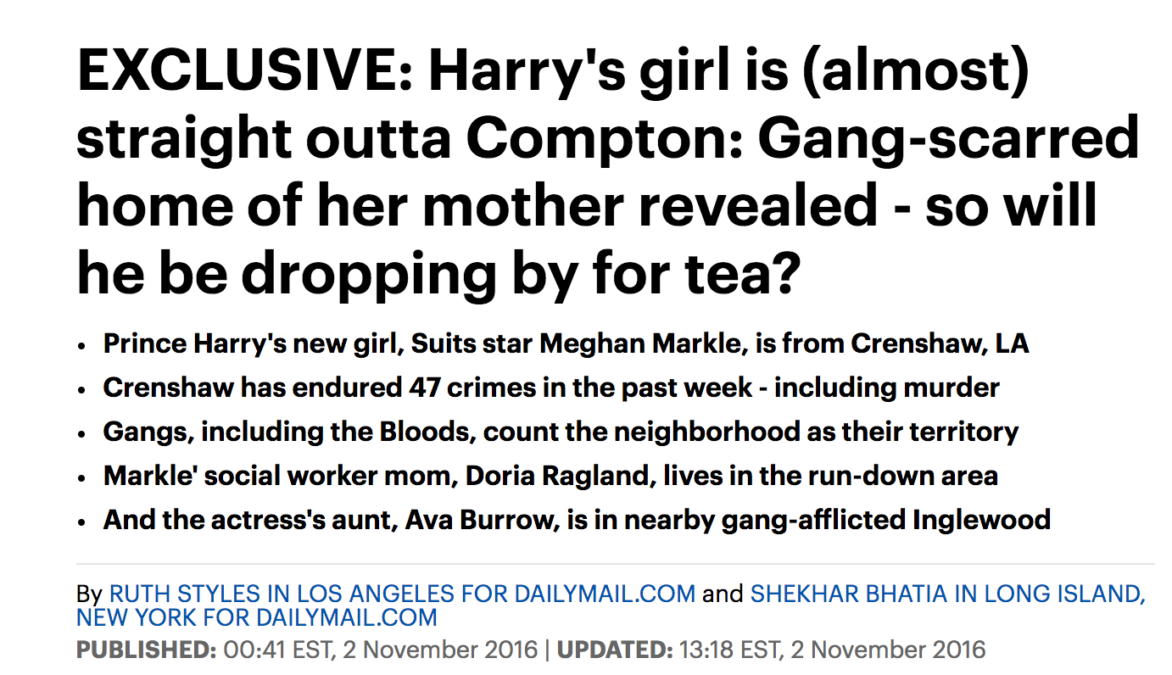 The Daily Mail ran a racist and false attack targeting Meghan Markle in 2016.