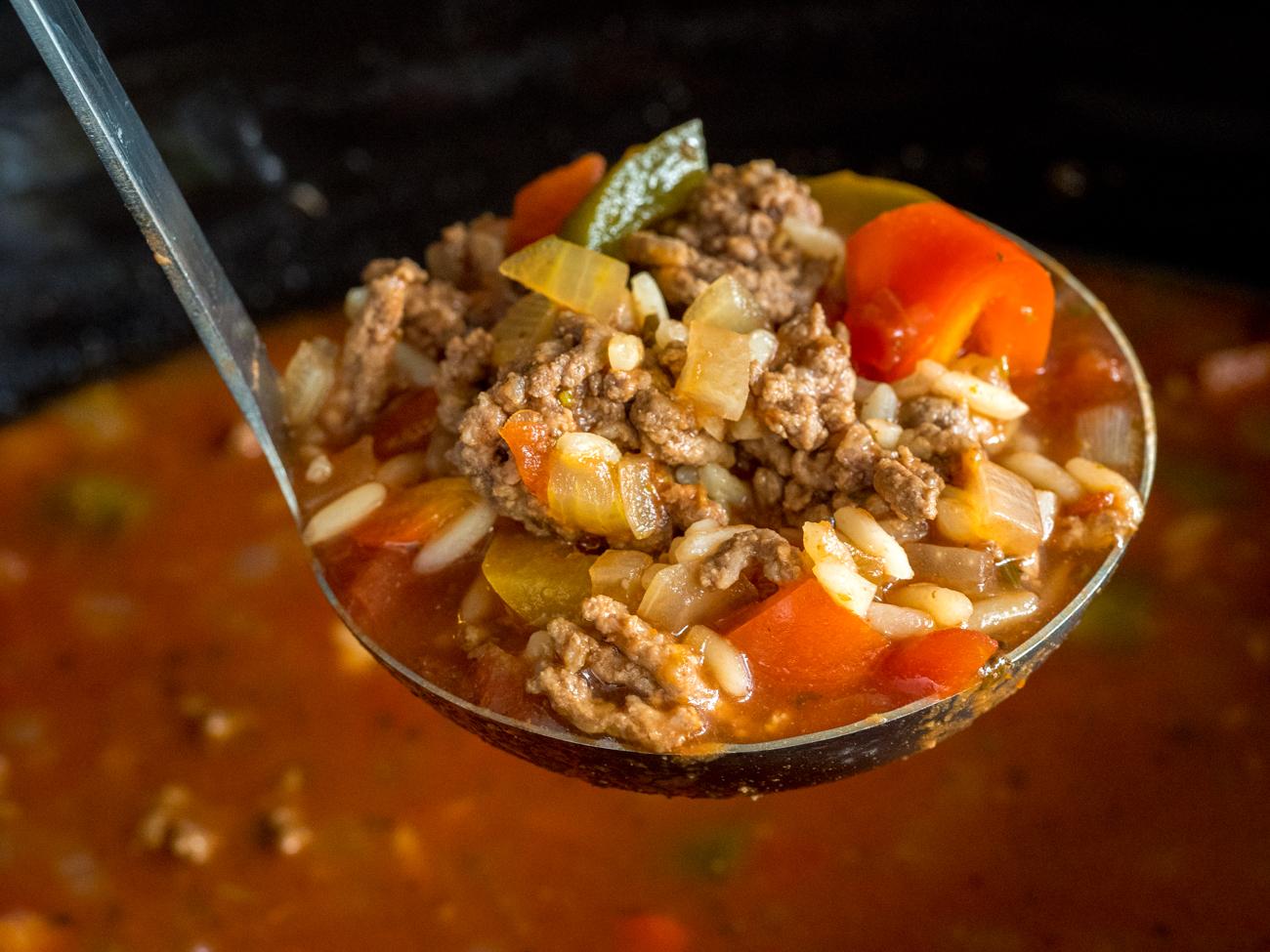Slow Cooker Stuffed Pepper Soup Horizontal 4