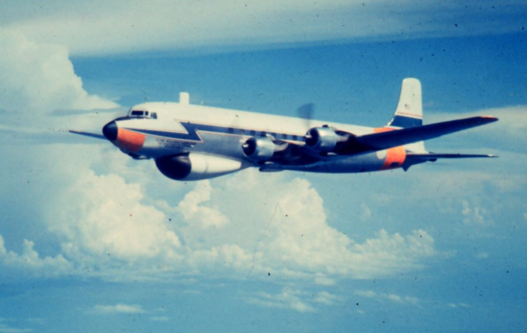 The original storm chasers of Project Cirrus were Naval pilots on loan to NOAA's Weather Bureau, flying DC-6  jets. NOAA photo.