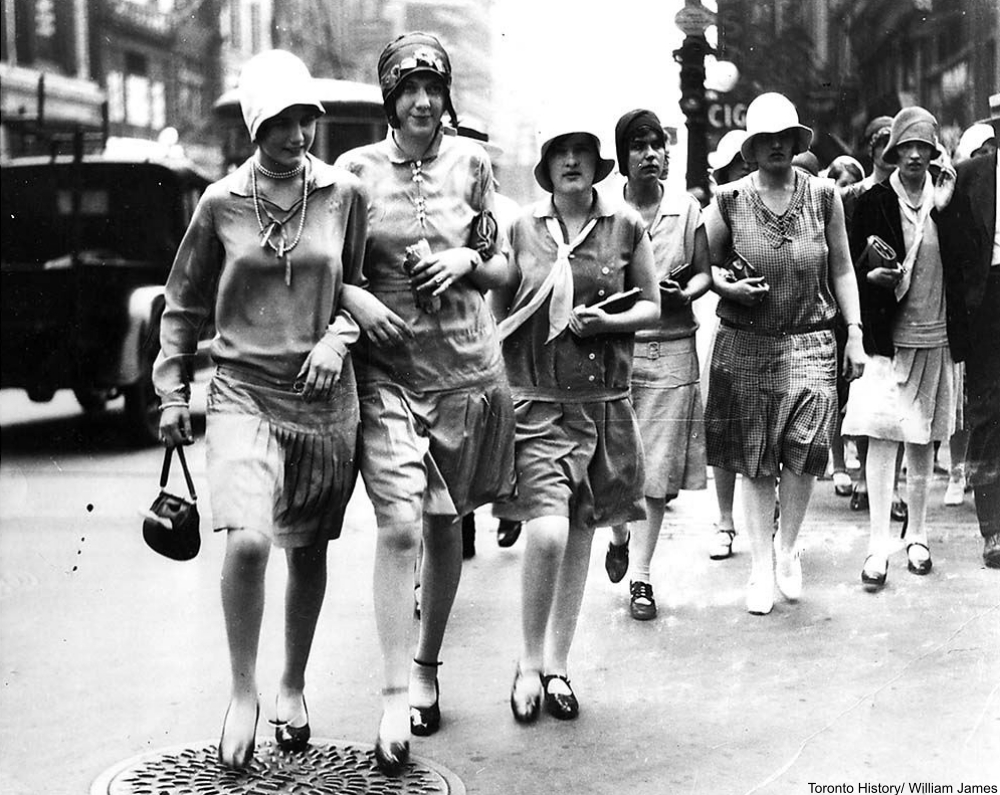 Fashionable young ladies walking down the street