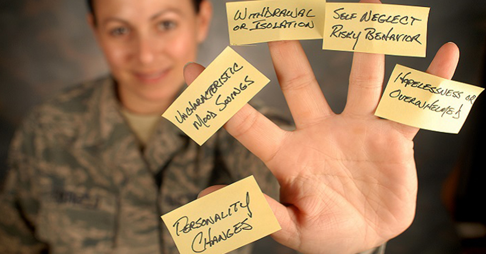 Photo: U.S. Air Force/Master Sgt. Chris Botzum -- Five signs that may mean someone is in emotional pain and might be at risk for suicide.