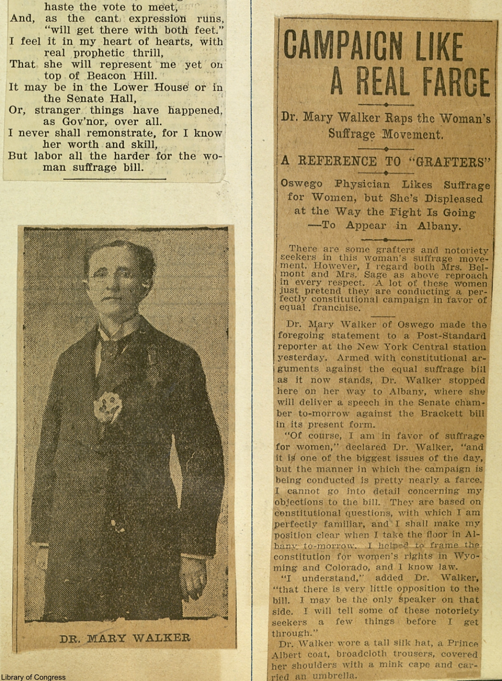 Dr. Mary Walker gives her opinions on the suffrage campaign of the day