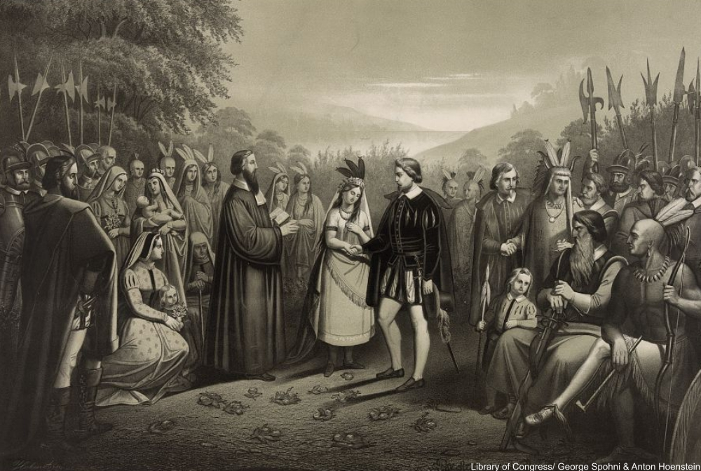 marriage of Pocahontas and John Rolfe as depicted more than 250 years after the fact