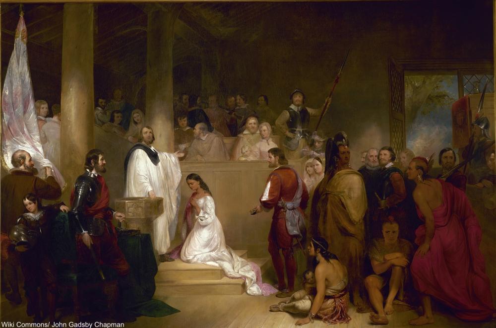 1840 depiction of Pocahontas' baptism