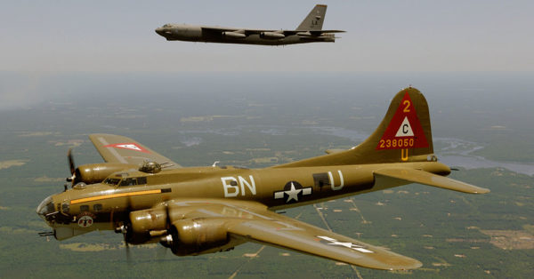 Source: Wikimedia Commons B-17G and B-52H in flight.