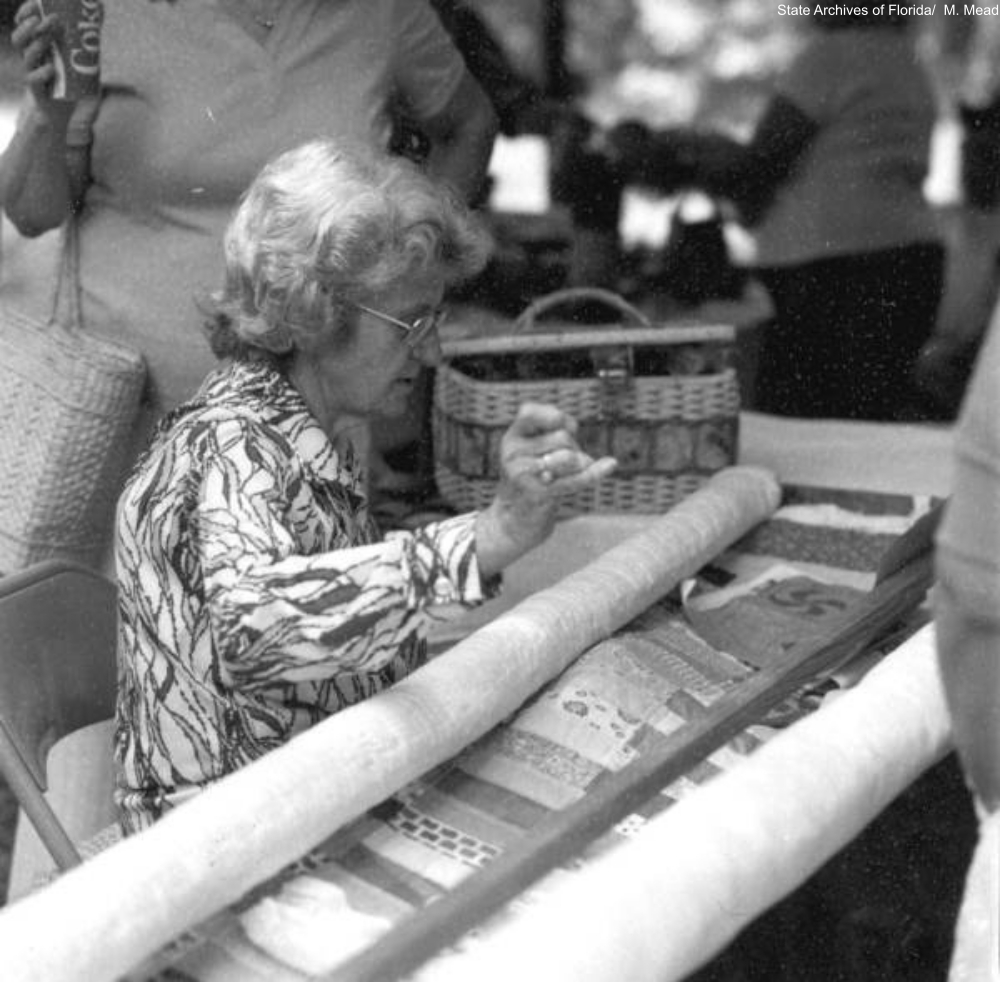 quilting demonstration, 1982