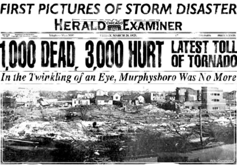this headline reported an exaggerated death toll from the Tri-state Tornado of 1925