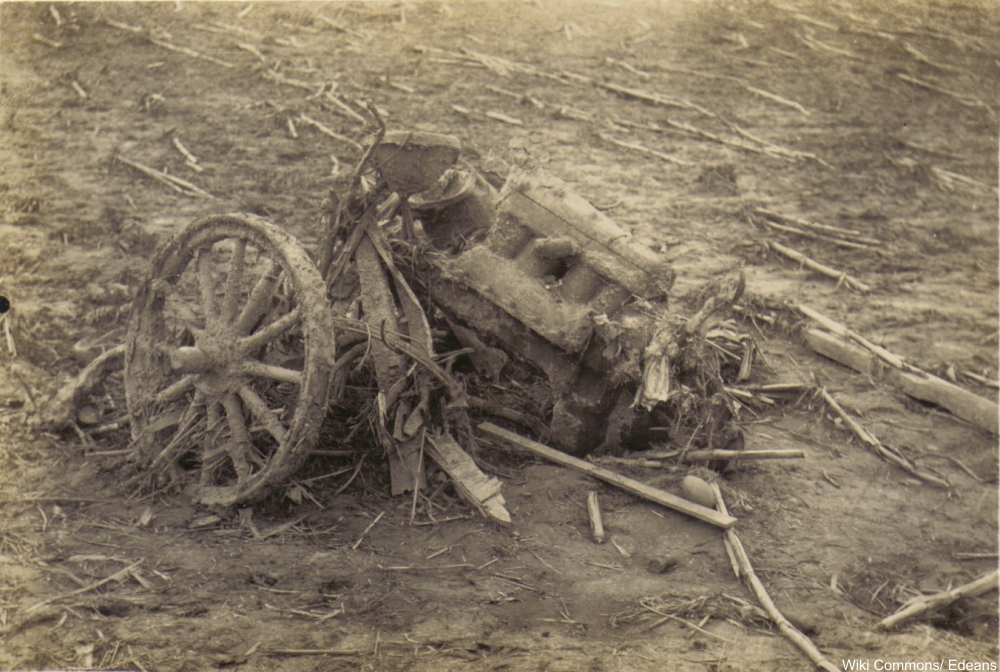 Model-T destroyed by the 1925 monster tornado in Owensville, IN.