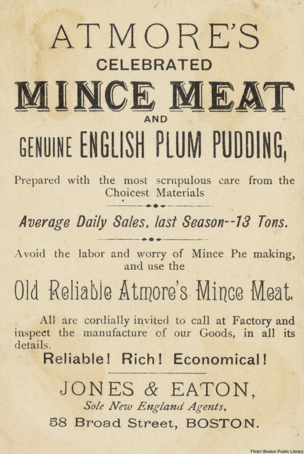 plum pudding and mincemeat advertisement from turn of the century Boston