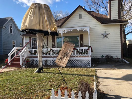 An Iowa man's front yard features a 14-foot-tall recreation of the iconic