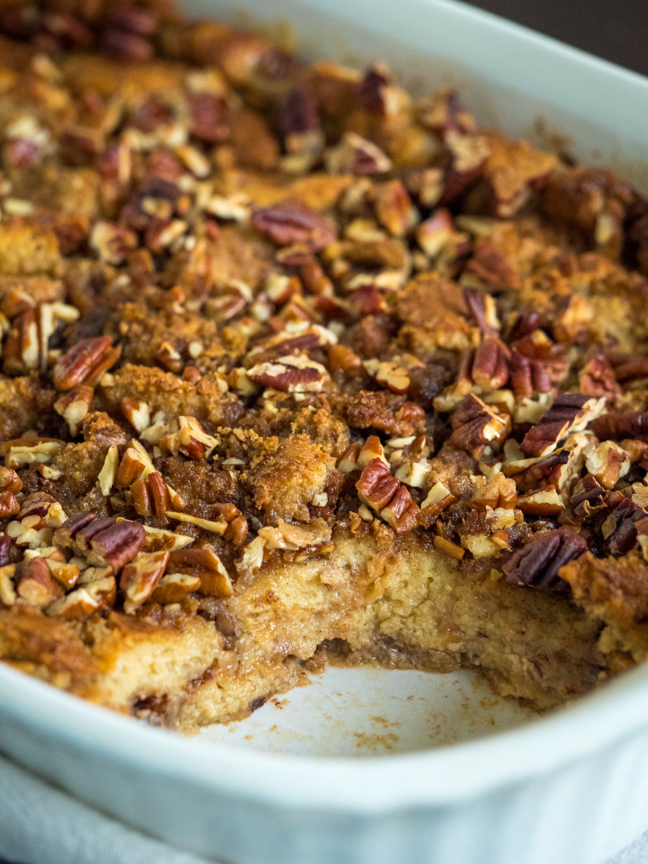 Pecan Pie Bread Pudding Casserole Vertical 3