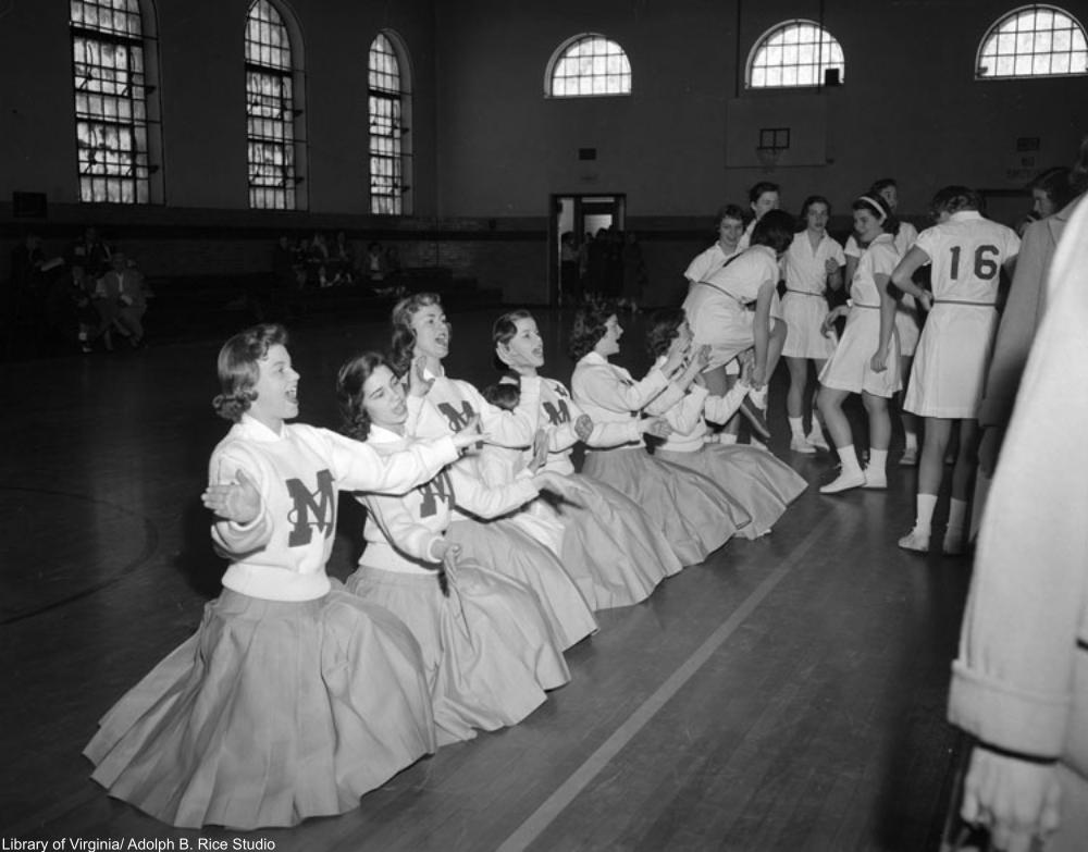 Marymount cheerleaders, 1957