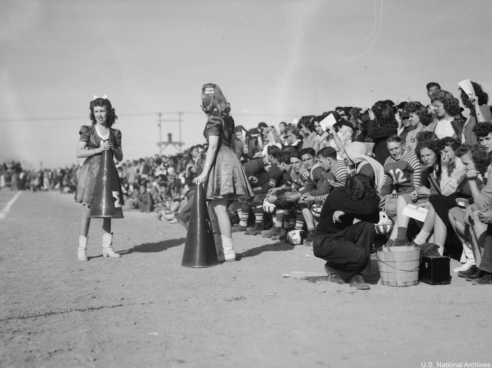 Fillmore, Utah, cheerleaders at football game in 1943