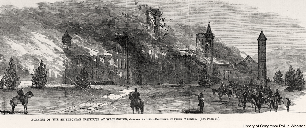 1865 engraving of the Smithsonian Institute fire