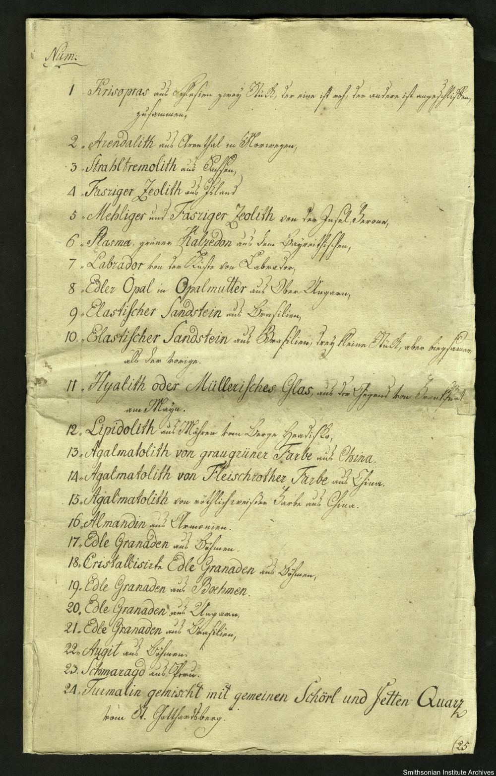 a list of Smithson's mineral samples circa 1800