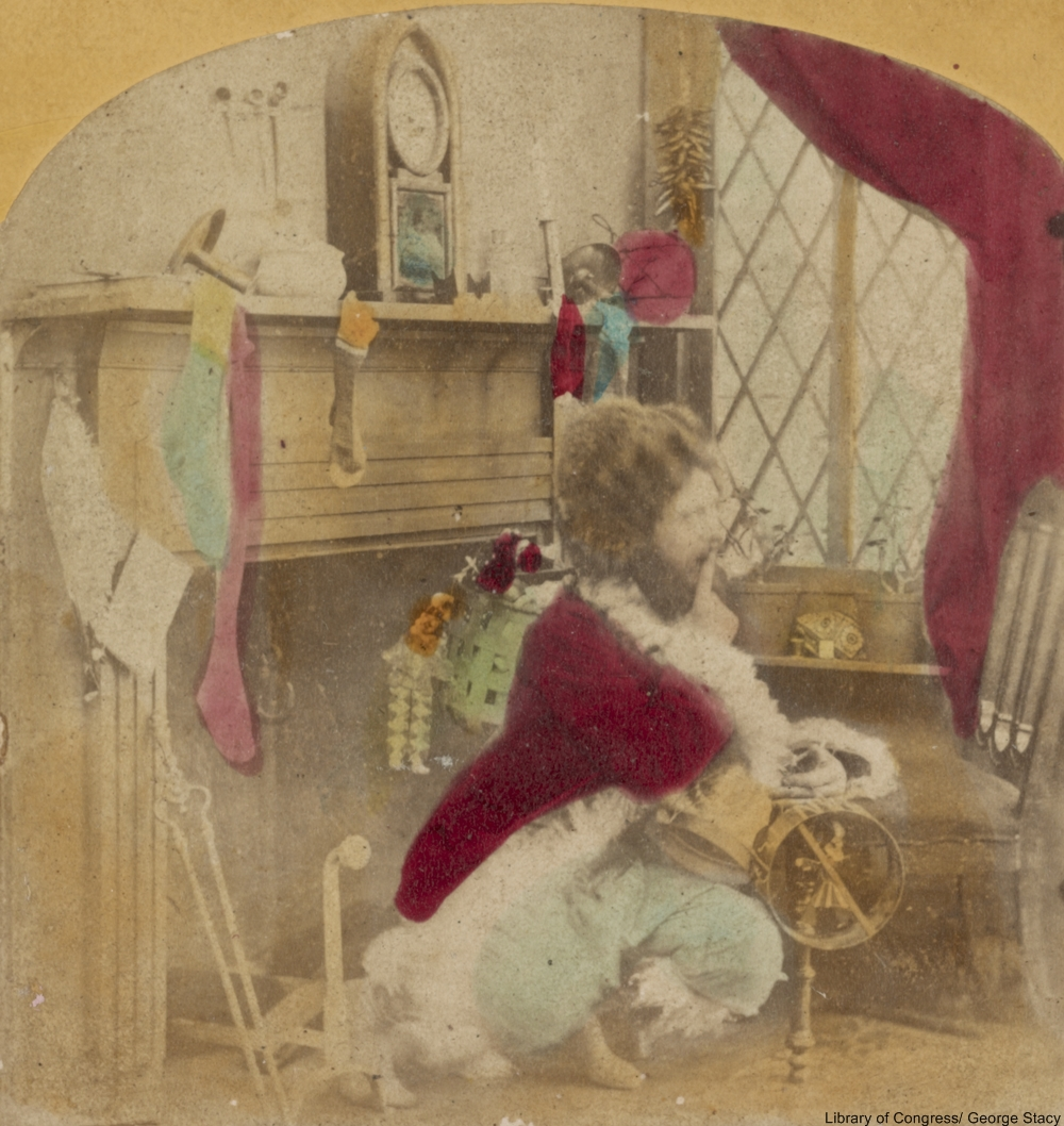 1860s Santa has a red coat, but seems more goofy than jolly