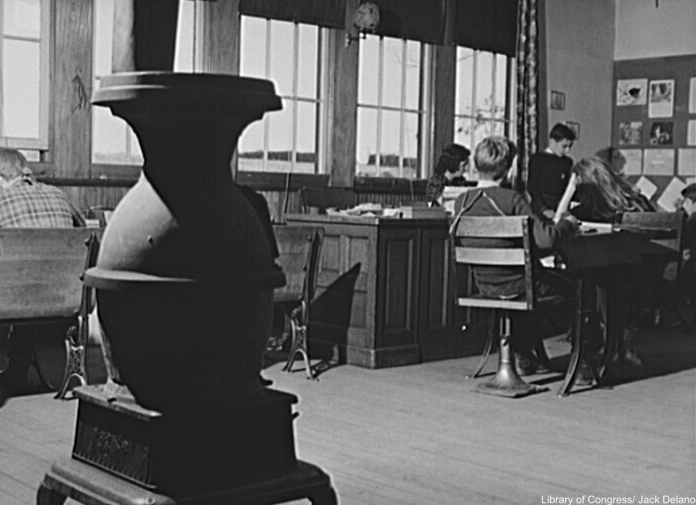 one-room schoolhouse in Colchester, Connecticut, in 1940