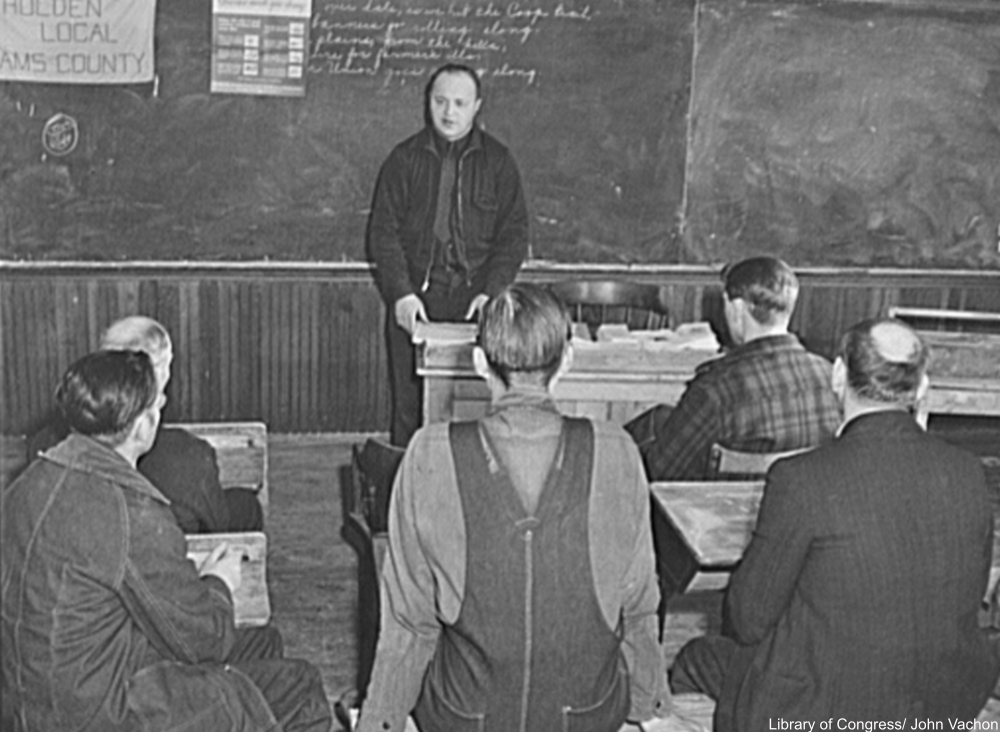 schoolhouse being used for meeting of farmers, Adams County, North Dakota, 1942
