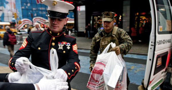 Source: Department of Defense Marines collect toys for children in Times Square, New York.
