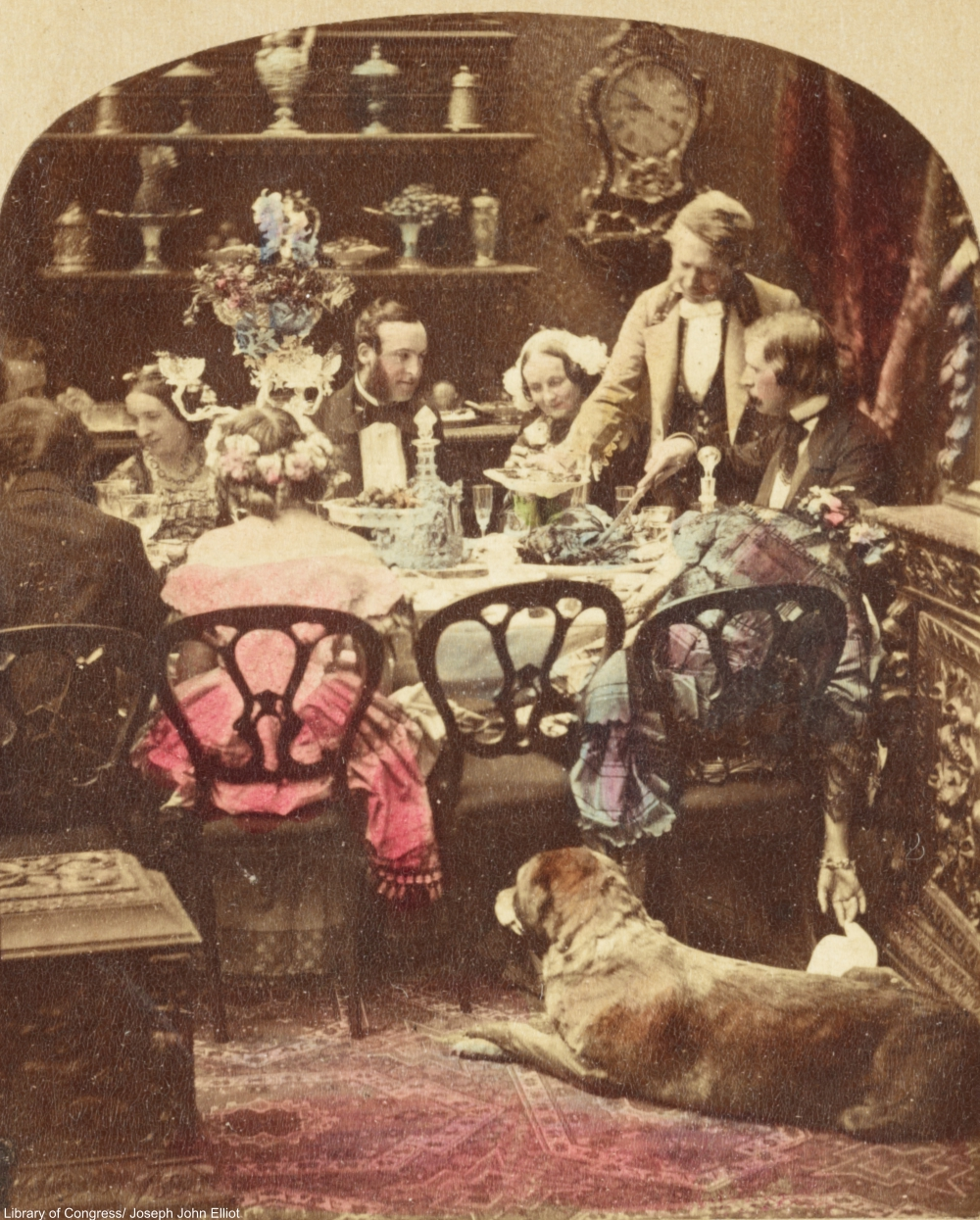 Victorian family at dinner