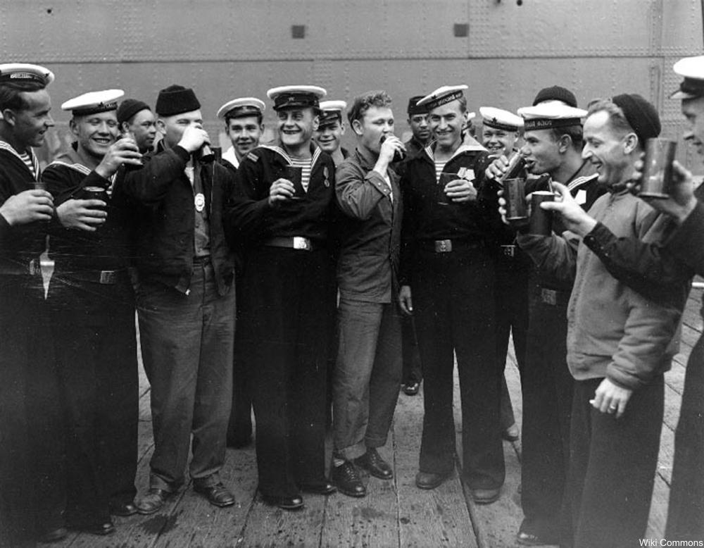US and Soviet sailors in Alaska celebrate VJ day.
