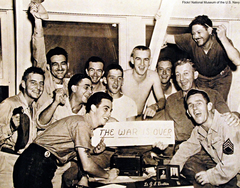 Surrender of Japan, August-September 1945. Victory Celebrations (VJ Day) at CINCPAC HQ, Guam, August 15, 1945.