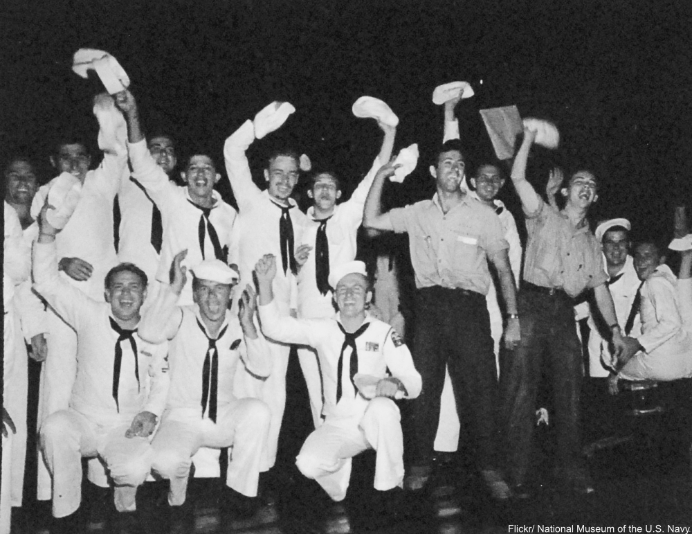 Japanese Surrender, August-September 1945. V-J Celebrations. Scenes at Waikiki, Oahu, Territory of Hawaii, when word was received that the Japanese had accepted the Potsdam surrender terms, August 15, 1945. U.S.
