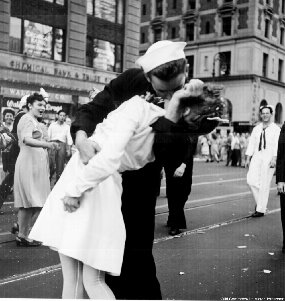 New York City celebrating the surrender of Japan. They threw anything and kissed anybody in Times Square