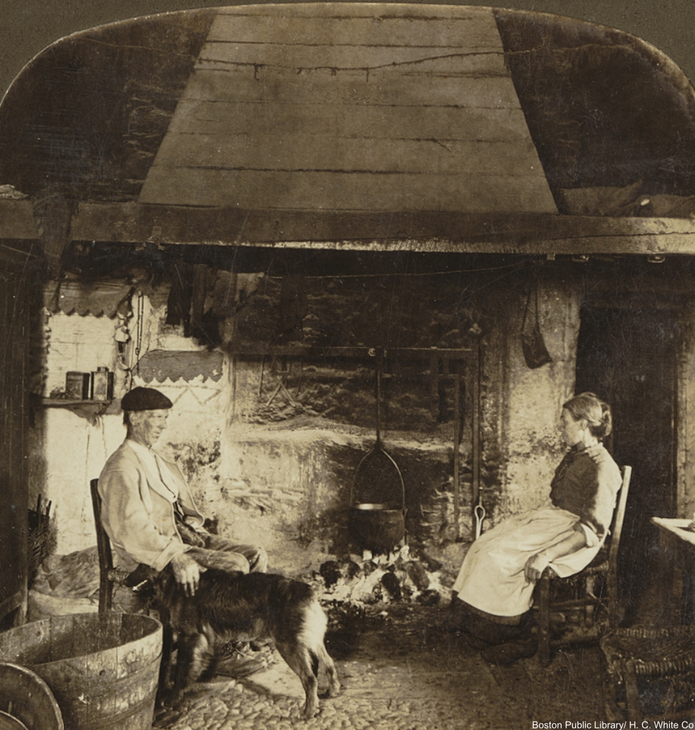 staying warm by the fire in the 19th century