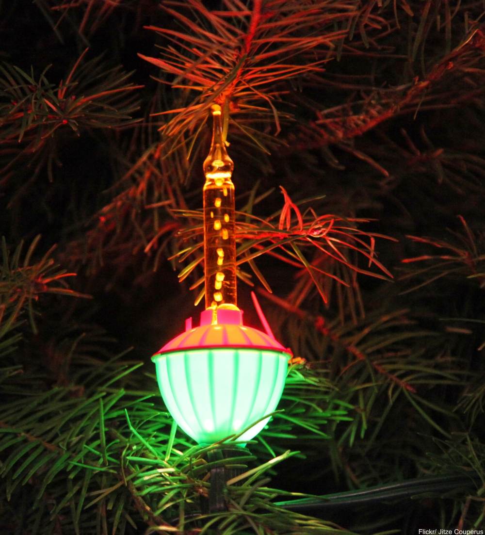 vintage bubble light on a Christmas tree