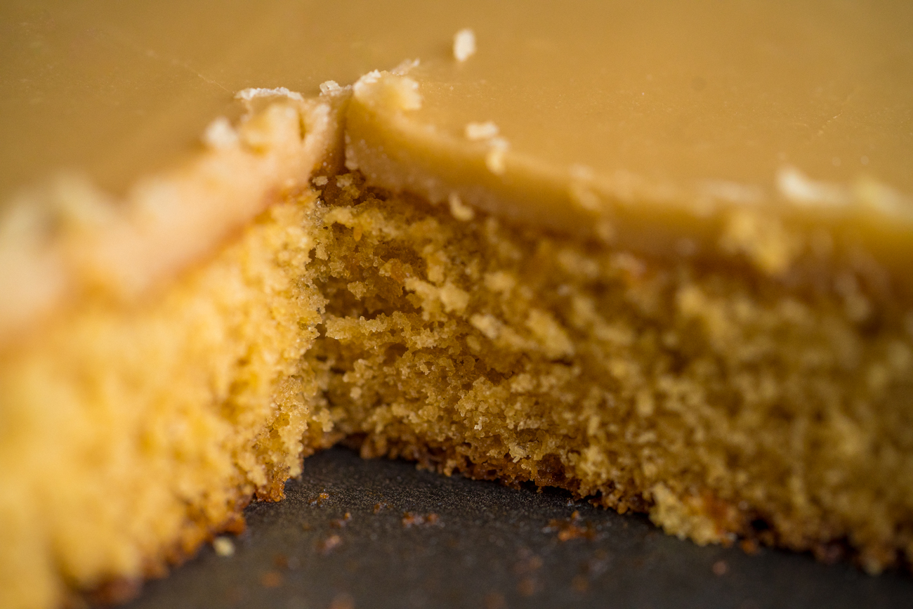 Salted Caramel Frosted Brown Sugar Sheet Cake Horizontal 5