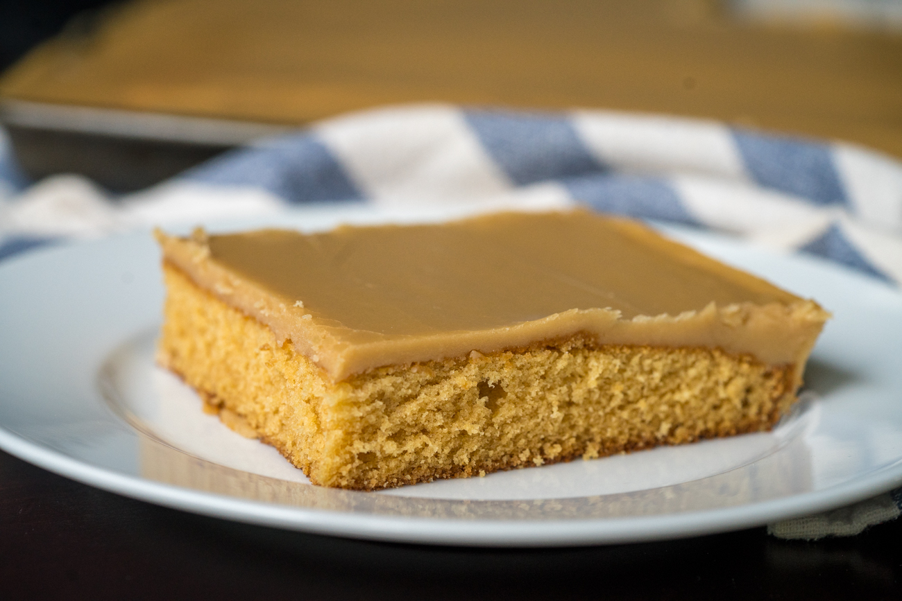 Salted Caramel Frosted Brown Sugar Sheet Cake Horizontal 9